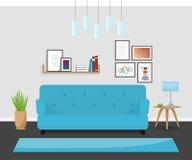 Den moderna inredesignen i turkosfärger Den hemtrevliga vardagsrummet Royaltyfria Foton