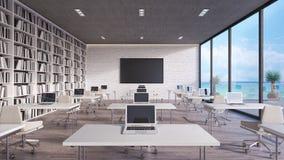 Den moderna klassruminredesignen 3d framför stock illustrationer