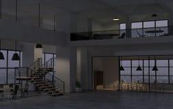 Den moderna kontorsinre i den sena aftonen 3d framför stock illustrationer