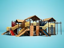 Den moderna lekplatsen för barn och tonåringar från trädet med barns klättringväggar för strandunderhållning 3d framför på blått stock illustrationer