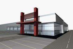 den moderna mitten för affären 3d framför Arkivbild