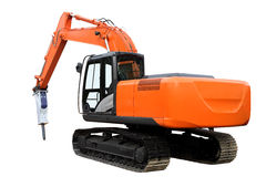 Den moderna orange traktoren Arkivbilder