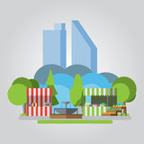 Den moderna plana designen parkerar illustrationen Fotografering för Bildbyråer