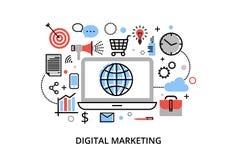 Den moderna plana tunna linjen designvektorillustration, begrepp av den digitala marknadsföringen, internetmarknadsföringsidé och Royaltyfria Foton