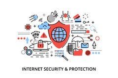 Den moderna plana tunna linjen designvektorillustration, infographic begrepp av internetsäkerhet, nätverksskydd och säkrar online Royaltyfria Bilder