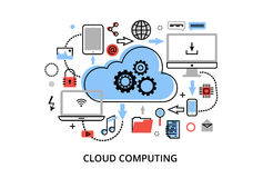 Den moderna plana tunna linjen designvektorillustrationen, begrepp av molnberäkningsteknologier, skyddar datornät och fjärrkontro Arkivfoton