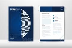 Den moderna räkningsårsrapportbroschyren - affärsbroschyr - katalogisera räkningen, reklambladdesignen, formatet A4, förstasida o Arkivbild