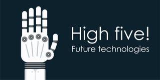 Den moderna robothanden gömma i handflatan Plan vektorbakgrund Arkivfoton