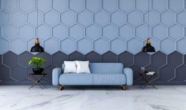 Den moderna ruminredesignen, den blåa tygsoffan på marmordurk och blått med den svarta sexhörningsingreppsväggen /3d framför Royaltyfri Foto