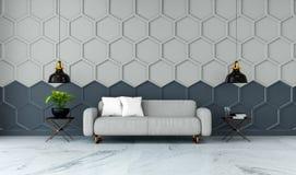 Den moderna ruminredesignen, den gråa tygsoffan på marmordurk och grå färger med den svarta sexhörningsingreppsväggen /3d framför Arkivbilder