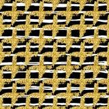 Den moderna sömlösa modellen med borsten gör randig plädet och korset Vit guld- metallisk färg på svart bakgrund guld- Royaltyfri Foto