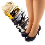 den moderna seten shoes sommarkvinnan Arkivbilder