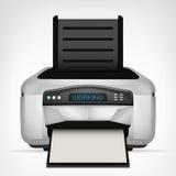 Den moderna skrivaren med tomt papper anmärker ner isolerat Arkivfoto