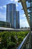 Den moderna skyskrapan nära parkerar Royaltyfri Bild
