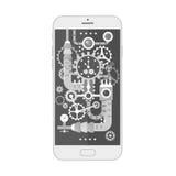 Den moderna smartphonen med olik steampunktappning förser med kuggar, kugghjul och våg inom också vektor för coreldrawillustratio stock illustrationer