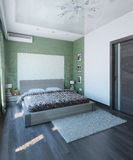 Den moderna sovruminredesignen, 3d framför Royaltyfri Fotografi