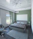 Den moderna sovruminredesignen, 3d framför Arkivbilder