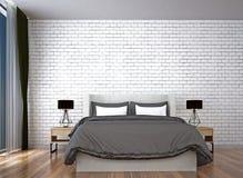 Den moderna sovruminredesignen och väggen för röd tegelsten mönstrar bakgrund Royaltyfria Foton