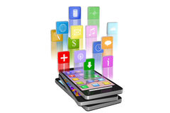 Smartphone med molnet av isolerade applikationsymboler Arkivfoto