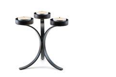 Den moderna svarten belägger med metall stearinljushållaren Royaltyfri Fotografi