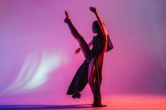 Den moderna tonåriga moderna dansaren poserar framme av studiobakgrunden Royaltyfria Foton