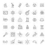 Den moderna tunna linjen symbolsuppsättning av biokemi forskar vektor illustrationer