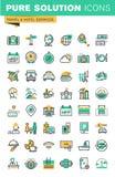 Den moderna tunna linjen symbolsuppsättning av ferier erbjuder, information om destinationer, typer av transport, hotelllättheter Royaltyfri Fotografi