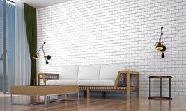 Den moderna vardagsruminredesignen och vittegelstenväggen mönstrar bakgrund Arkivfoto