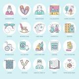 Den moderna vektorlinjen symbol av pensionären och åldringen att bry sig Vårdhembeståndsdel - gamla människor, rullstol, fritid,  royaltyfri illustrationer