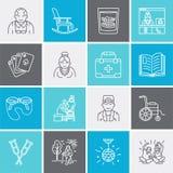 Den moderna vektorlinjen symbol av pensionären och åldringen att bry sig Vårdhembeståndsdel - gamla människor, rullstol, fritid,  stock illustrationer