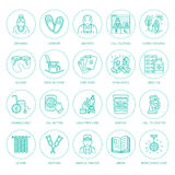 Den moderna vektorlinjen symbol av pensionären och åldringen att bry sig Vårdhembeståndsdelar - gamla människor, rullstol, fritid royaltyfri illustrationer