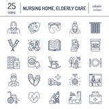 Den moderna vektorlinjen symbol av pensionären och åldringen att bry sig Vårdhembeståndsdelar - gamla människor, rullstol, fritid stock illustrationer