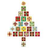 Den moderna vektorn isolerade illustrationen av den färgrika julgranen som gjordes från buntar av gåvor vektor illustrationer