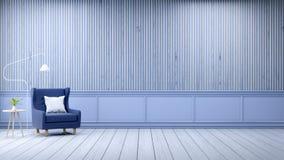 Den moderna vindinre, tömmer rum, den vita wood durken, och blåttramen med gammal wood väggbakgrund, 3d framför Arkivfoto