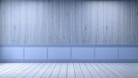 Den moderna vindinredesignen, tömmer rum, den vita wood durken, och blåttramen med gammal wood väggbakgrund, 3d framför Royaltyfri Bild