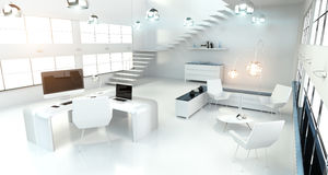 Den moderna vita kontorsinre med datoren och apparater 3D framför Arkivbilder