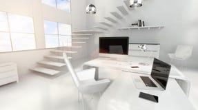 Den moderna vita kontorsinre med datoren och apparater 3D framför Royaltyfria Bilder