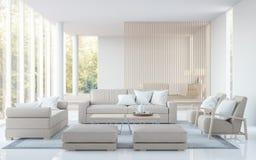 Den moderna vita vardagsrum- och för sovrummet 3D tolkningen avbildar Arkivbild