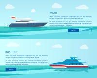Den moderna yachten för havet går och fartygturbefordran vektor illustrationer