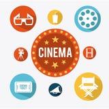 Den moderna yrkesmässiga filmkameran med Mattebox och följer fokusen på abstrakt utrymmebakgrund stock illustrationer