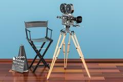 Den moderna yrkesmässiga filmkameran med Mattebox och följer fokusen på abstrakt utrymmebakgrund Filmkamera med filmrullar, stol, Royaltyfri Bild