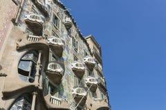 Den modernistiska CasaBatllo fasaden som planläggs av Antoni Gaudi Barcelona Arkivfoto