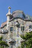 Den modernistiska CasaBatllo fasaden som planläggs av Antoni Gaudi, i B Royaltyfria Foton