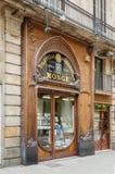 Den modernistiska fasaden av filateli shoppar, i Barcelona Royaltyfri Foto