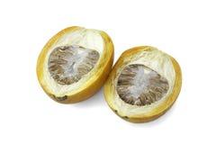 Den mogna aceraen eller betelen gömma i handflatan mutterfrukt med banan Royaltyfri Fotografi