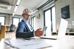 Den mogna affärsmannen med bärbara datorn och ilar telefonen Arkivfoton
