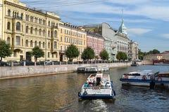 Den Moika flodinvallningen i Leningrad Arkivbild