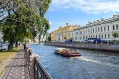 Den Moika invallningen i St Petersburg Arkivfoto