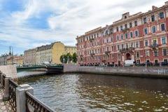 Den Moika invallningen i St Petersburg Fotografering för Bildbyråer