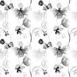 Den monokromma blom- sömlösa modellen med gerberaen och vallmo blommar stock illustrationer